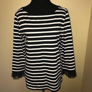 J. Crew White & Black Striped Shirt Polka